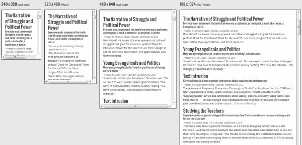 screenshot of the Aquila Report using responsive design tool