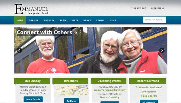 Screenshot of homepage of Emmanuel Presbyterian Church in Wilmington, DE