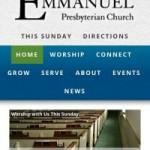 Screenshot of Emmanuel Presbyterian Church website on an iPhone