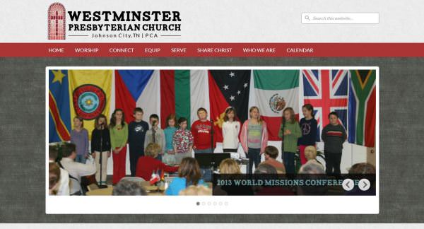 Screenshot of Westminster Presbyterian Church homepage